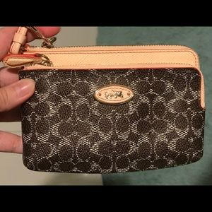 Coach Signature Monogram Double Zipper Wristlet